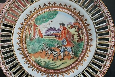 19th c Antique Rose Medallion Chinese Porcelain Reticulated Plate European Scene