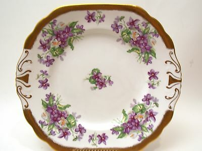 Royal Chelsea Fine Bone China Serving Plate With Violets And Gold Trim