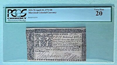 MD-70 1774 $8 Maryland Colonial Currency PCGS Graded Very Fine 20 Rare