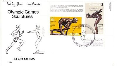 1975 Olympic Sculptures Issue FDC Sc#656-657  NR Cachet