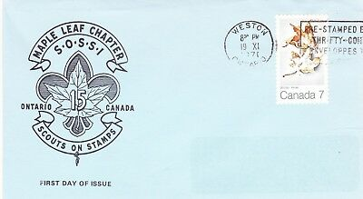 1971 Maple in Winter Issue FDC Sc#538 Scouts on Stamps Cachet