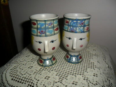 Fitz & Floyd Bjorn Wiinblad Inspired Lady Face Figural Mugs Cups SET of 2