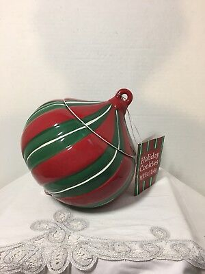 REAL HOME  Christmas Holiday  Ornament  Canister Cookie Jar ~ Red Green White