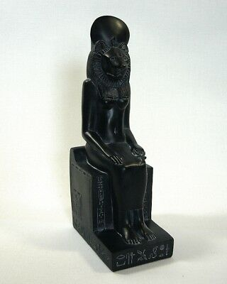 "Seated Egyptian Goddess Sekhmet Statue 7.75"" Ancient Treasures Black Resin"