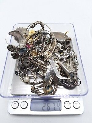 VTG Sterling Silver - Lot of Assorted Mixed Jewelry SCRAP/Repair - 267.4g