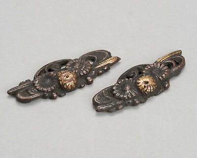 Antique Original Flowers Menuki pair Japanese sword fittings samurai koshirae