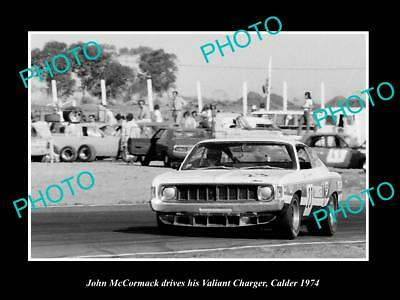 OLD HISTORIC MOTOR RACING PHOTO OF JOHN McCORMACK VALIANT CHARGER CALDER 1974