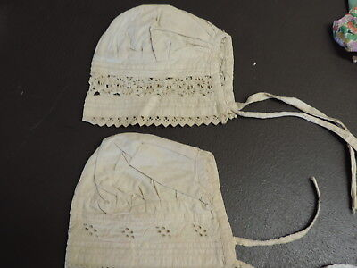 LOT OF 2 CHILD'S VICTORIAN INFANT DAY CAP OR BONNET HANDMADE from ESTATE