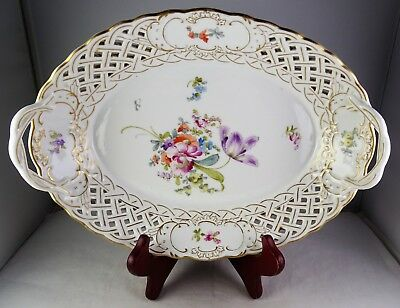 Antique Saxe German Porcelain Reticulated Handled Serving Bowl Floral Gold
