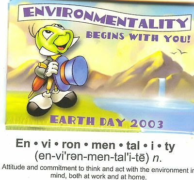 2 Disney Buttons Earth Day 2003 Jiminy Cricket Environmentality Begins with You!