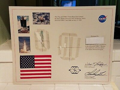 Nasa Space Shuttle Discovery Space Flown Flag From Mission STS-70 July 13 1995