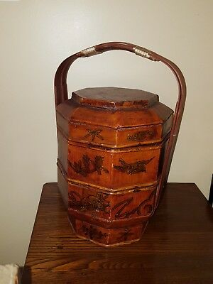 Vintage Chinese Wedding Basket Stackable Hand Painted Lacquered