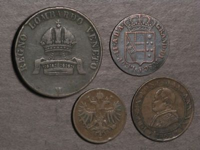 ITALIAN STATES 1849-1867 Lot of 4 Assorted Coins