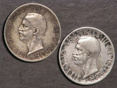 ITALY 1927-28 5 Lire Silver F-VF - 2 Coins