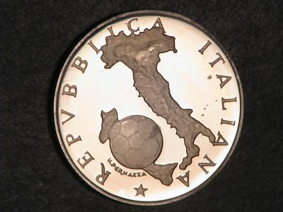 ITALY 1986 500 Lire Soccer Silver Choice Proof