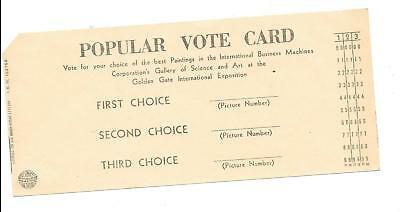 1939 Ggie Ibm Vote Card-Very Scarce- Most Were Submitted