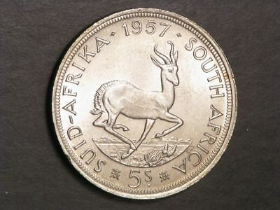 SOUTH AFRICA 1957 5 Shillings Silver Crown UNC