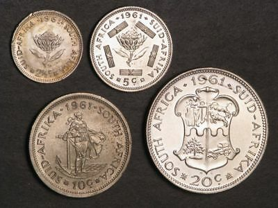 SOUTH AFRICA 1961 2 1/2-5-10-20 Cents Silver UNC
