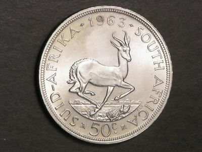 SOUTH AFRICA 1963 50 Cents Silver Crown  BU