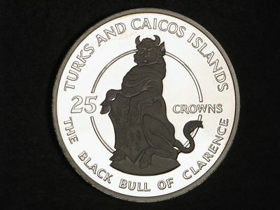 TURKS & CAICOS ISLANDS 1978 25 Crowns Black Bull of Clarence Silver Choice Proof