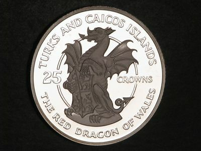 TURKS & CAICOS ISLANDS 1978 25 Crowns Red Dragon of Wales Silver Choice Proof