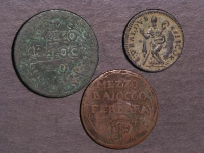 VATICAN-PAPAL STATES 1670-1758 Lot of 3 Different Coins