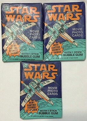 Topps 1977 STAR WARS Series 5 Unopened Wax Pack Sealed with Bubble Gum Lot of 3