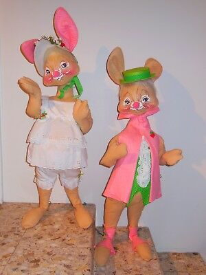 Pair Of 1970 30 In, Annalee Easter Bunny Rabbit Mobilitee Dolls~Rare~Excellent