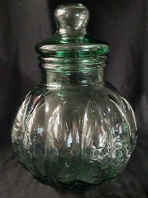 Large Melon Shaped Pale Green Glass Apothecary Jar w/Glass Cover From Italy