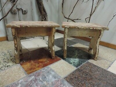 2 Vintage Antique Small Primitive Country White Wood Footstools Step Stools