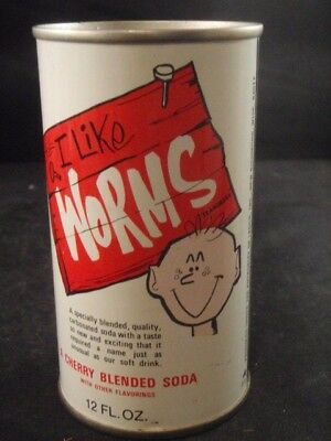 Vintage I Like Worms Cherry Soda Can Steel Pull Tab Ladco New Richmond Wisc. Usa
