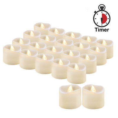 LED Tea Lights with Timer Battery Operated Flameless Candle 24PCS Fake Tealights