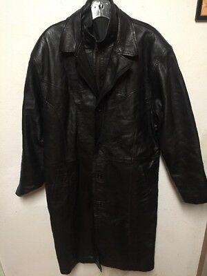 Unisex Authentic Vintage Leather Riding Coat Motorcycle Leather Trench w/ Hood