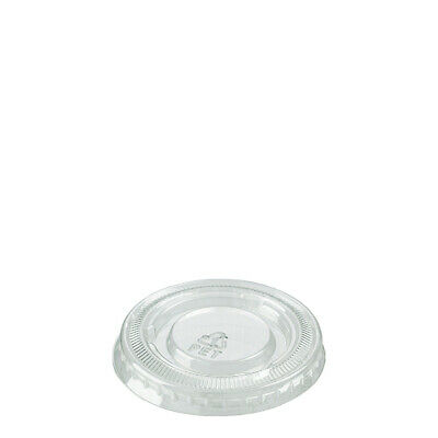 100x Clear Plastic Portion Cup Round Lid Suits 22/30mL Disposable Condiment