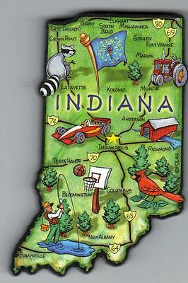 Artwood   Indiana   In  State Map Magnet Indianapolis  South Bend  Terra Haute