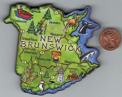 New Brunswick Canada Province Artwood  Map Magnet    Fredericton  Moncton