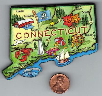 Connecticut   Artwood State Map Magnet  Hartford Bridgeport Stamford  New London