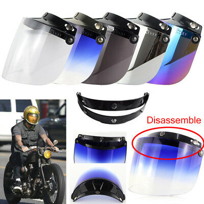 Universal 3-Snap Flip Up Visor Shield Lens For Retro Motorcycle Helmet Open Face
