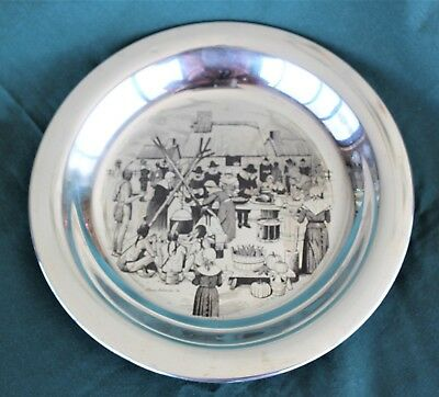 Sterling silver 'Thanksgiving' plate by Franklin Mint 1972.