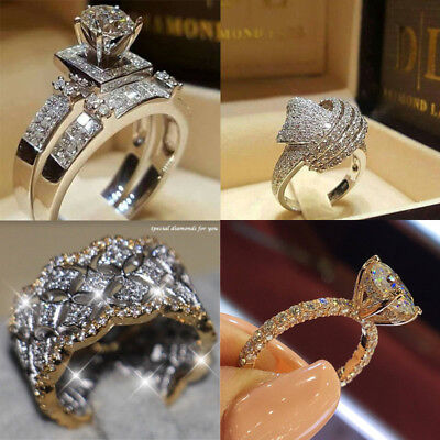 Jewelry 925 Silver Women 18K Gold Filled White Topaz Gift Wedding Ring Size 5-10