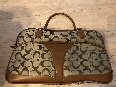 Coach Bag: Tan Faux Leather and Olive Canvass Carry-On