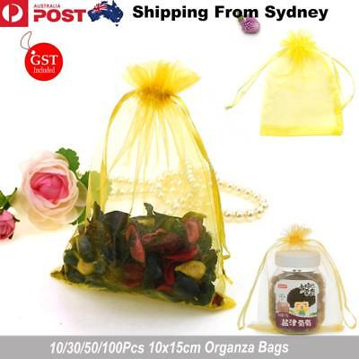 10-100pcs Organza Bag Sheer Bags Jewellery Wedding Candy Packaging Gift 10x15cm