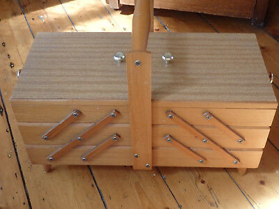 Retro Large 3 Tier Cantilever Sewing Box. Pine with Laminate top