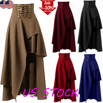 Women's Asymmetric Lace Up High Waist Steampunk Skirt Clothing Party Gothic Club