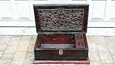 Antique Chinese Gilt Lacquered Foo-Lion  Wood Carved Document Storage Box