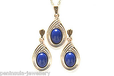 9ct Gold Lapis Lazuli Pendant Necklace and Earring Set Made in UK Gift Boxed