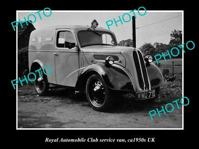 OLD LARGE HISTORIC PHOTO OF RAC ROYAL AUTOMOBILE CLUB SERVICE VAN c1950s UK