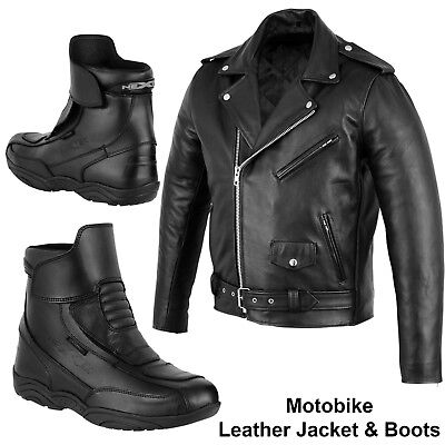 Motorcycle Motorbike Leather Jacket Brando Jacket Boot Waterproof Armoured Shoes