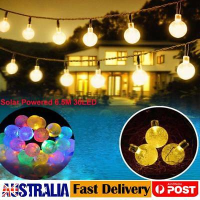 Waterproof 6.5M 30LED Solar Powered Fairy String Lights Clear Bulb Garden Xmas