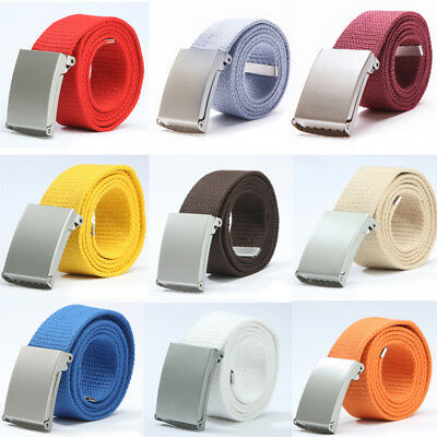 New Mens Womens Unisex Cotton Canvas Fabric Webbing Silver Buckle Belt Army